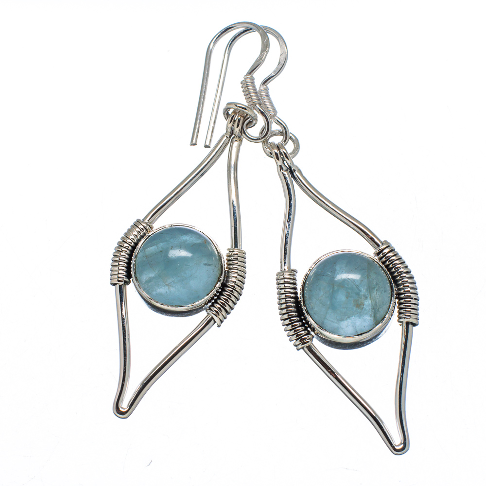 "Ana Silver Co Natural Aquamarine 925 Sterling Silver Earrings 2 1/4"" EARR341000"
