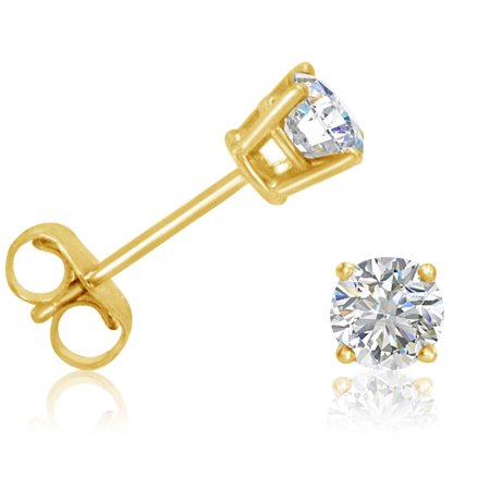 Amanda Rose 1 2Ct Tw Round Diamond Solitaire Stud Earrings In 14K Yellow Gold