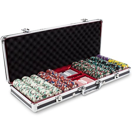 Poker Chips Set, Claysmith 500ct Texas Holdem Travel Poker Chip Case Set,  Black