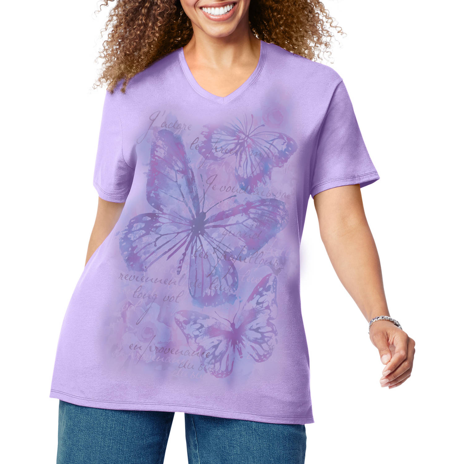 Just My Size Women's Plus-Size Printed Short Sleeve V-neck T-shirt