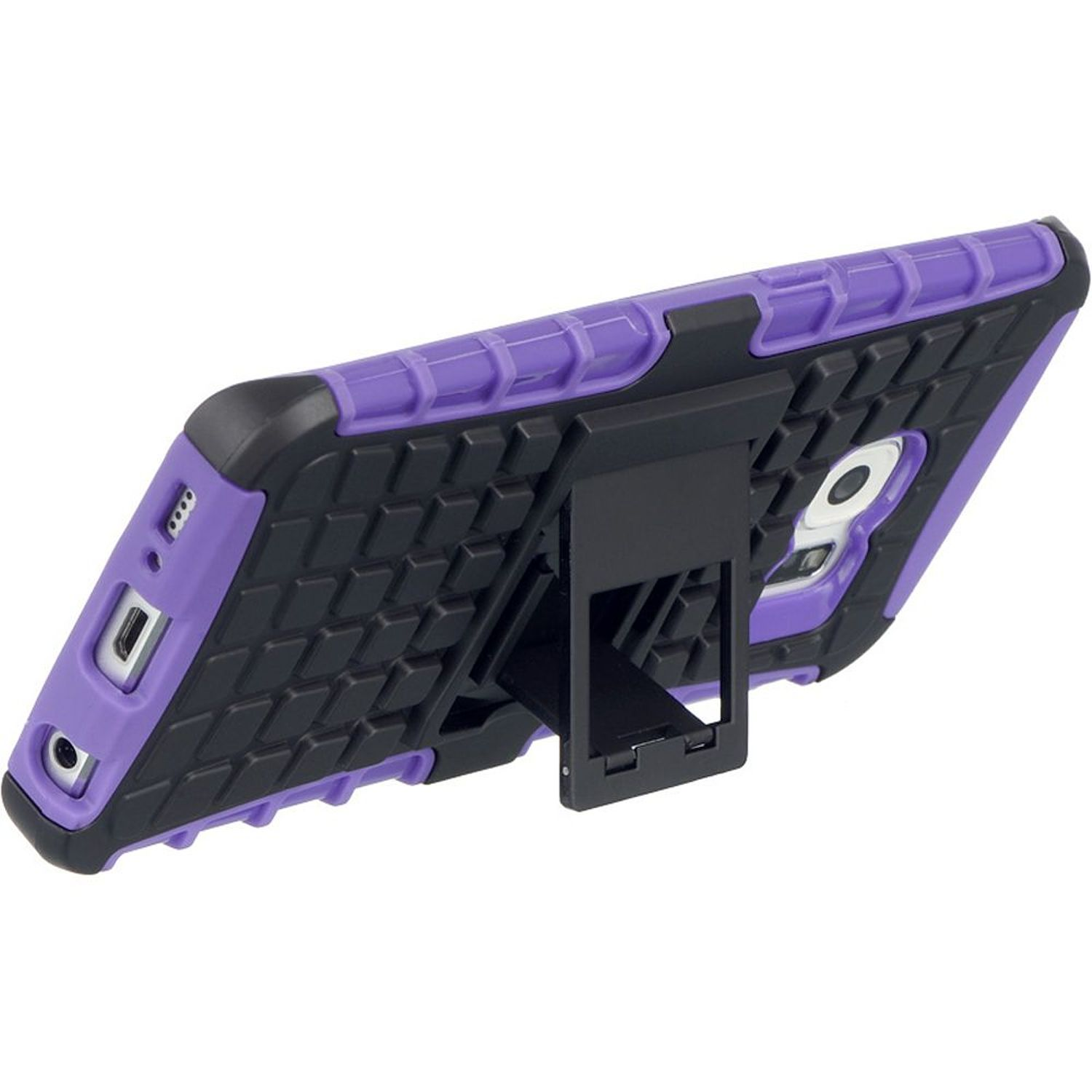 Insten Dual Layer [Shock Absorbing] Hybrid Stand Hard Plastic/Soft TPU Rubber Case Cover For Samsung Galaxy S6 Edge, Black/Purple