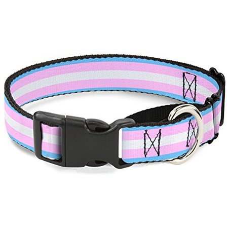 Wide Martingale Collar - buckle-down flag transgender baby blue baby pink white martingale dog collar