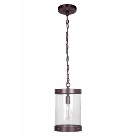 Litex Industries Single Light Ceiling Pendant, Bronze Finish with Clear Glass