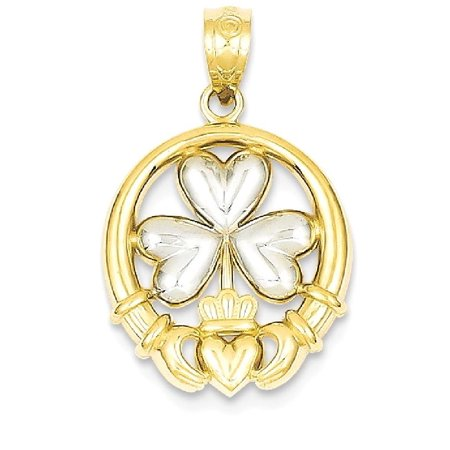 14k Yellow Gold Irish Claddagh Celtic Knot Shamrock Pendant Charm Necklace Gifts For Women For Her ()