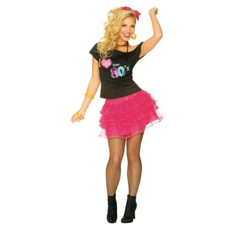 Women's Hot Pink 80s Petticoat Halloween Costume - 80s Rocker Chick Halloween