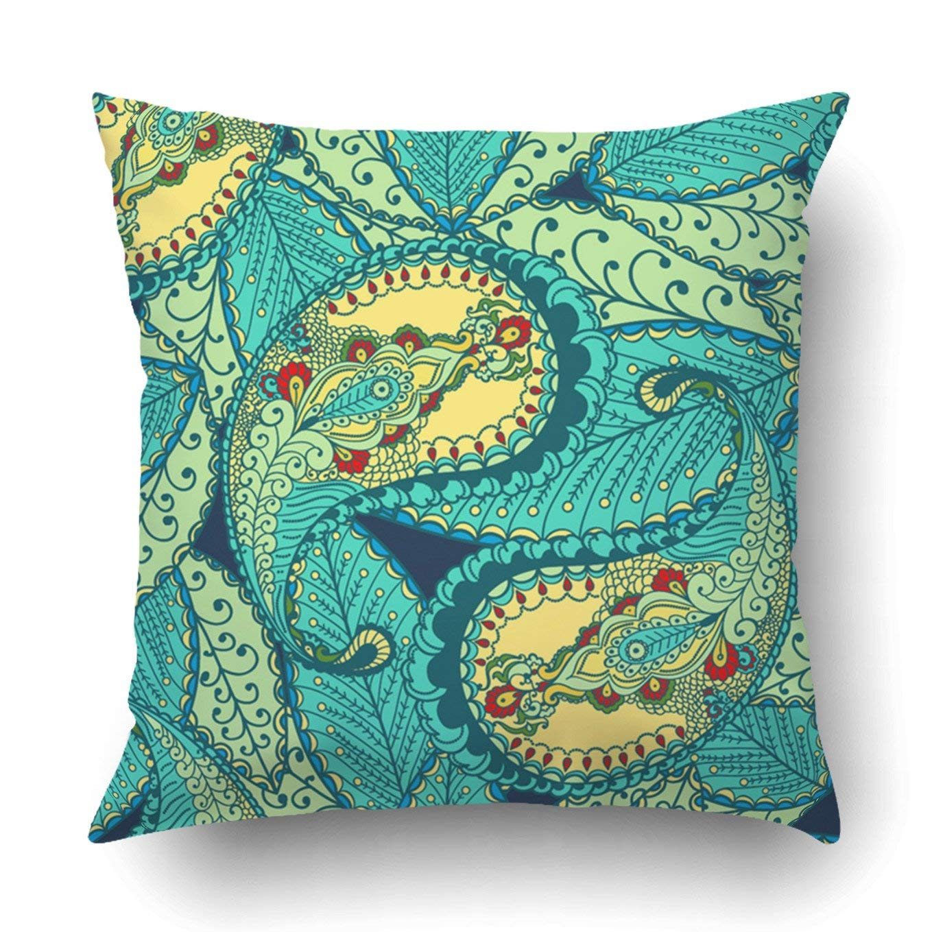 WOPOP colored paisley floral elements on green bohemian Pillowcase Throw Pillow Cover Case 16x16 inches