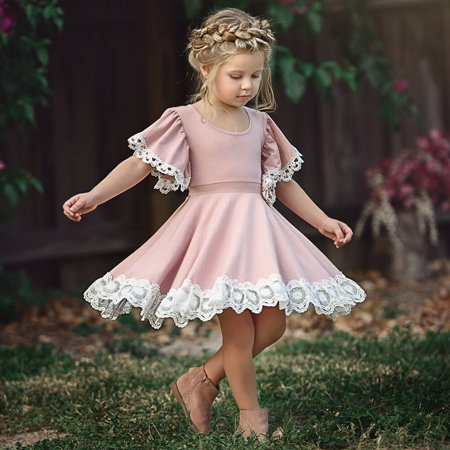 Newest Kids Baby Girls Dress Lace Floral Party Dress Short Sleeve Solid Dress Clothes