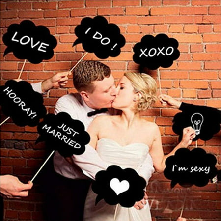 10 Pcs Photo Booth Props Kit Biotite Dialog Blackboard for party wedding fun - Wedding Photo Booth