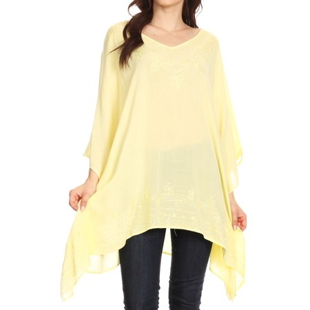 Circle Blouse (Sakkas Wren Lightweight Circle Poncho Top Blouse With Detailed Embroidery - Yellow - OS )