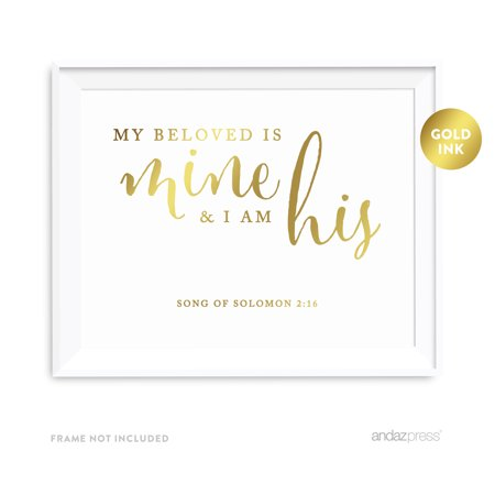 My Beloved is Mine and I am His, Song of Solomon 2 16 Bible Verses & Scriptures Wall Art Prints, Gold