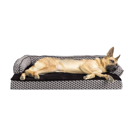 Comfy Pet Couch - FurHaven Pet Dog Bed | Memory Foam Plush & Decor Comfy Couch Sofa-Style Pet Bed for Dogs & Cats, Diamond Brown, Jumbo