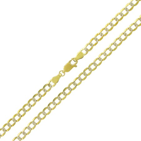 """14k Yellow Gold 4mm Solid Cuban Curb Link Diamond Cut Two-Tone Pave Necklace Chain 20"""" - 24"""""""