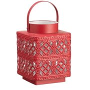 "7"" Alpine Chic Red Metal with Glass Diamond Lattice Hurricane Candle Holder"