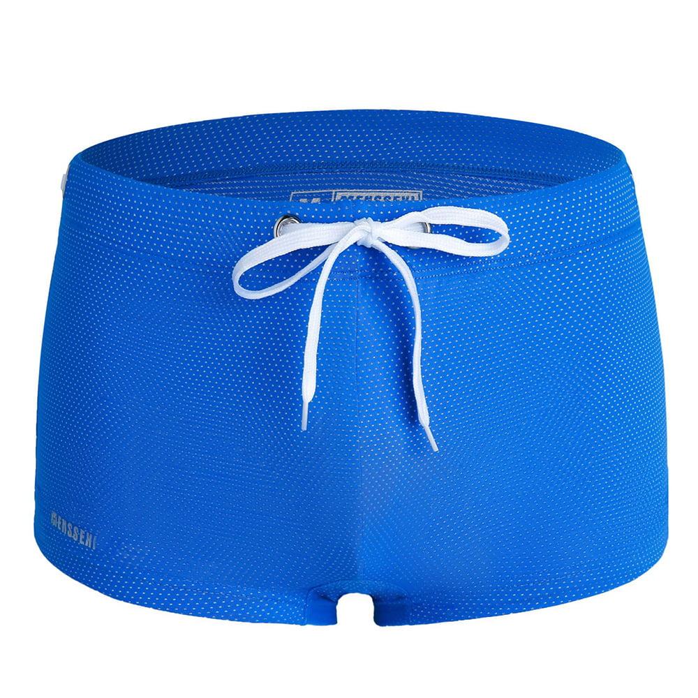 Mens Summer Swimming Trunks Low Waist Tether Mesh Elastic Boxer Shorts Swimwear
