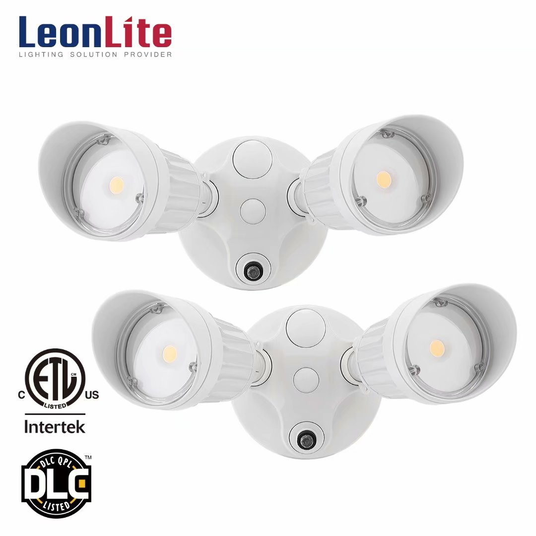 LEONLITE 2 Pack 20W(150W Equiv.) Dual-Head Dusk to Dawn LED Outdoor Security Light, Photocell, for Yard, Garage, Porch, Entryways, Porch, 5000K Daylight, White