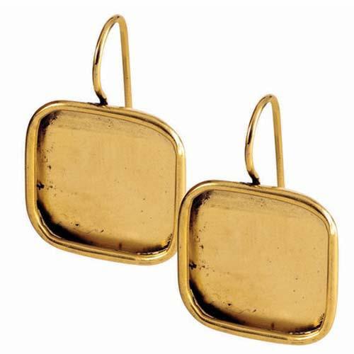 Nunn Design Antiqued 24kt Gold Plated Lg Square Bezel Earrings 1 Pair