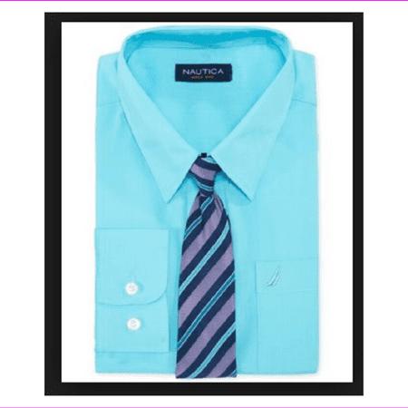 Nautica Big Boys' Long Sleeve Solid Broadcloth Shirt ,Orchid Aqua,10,Tie Not Inc