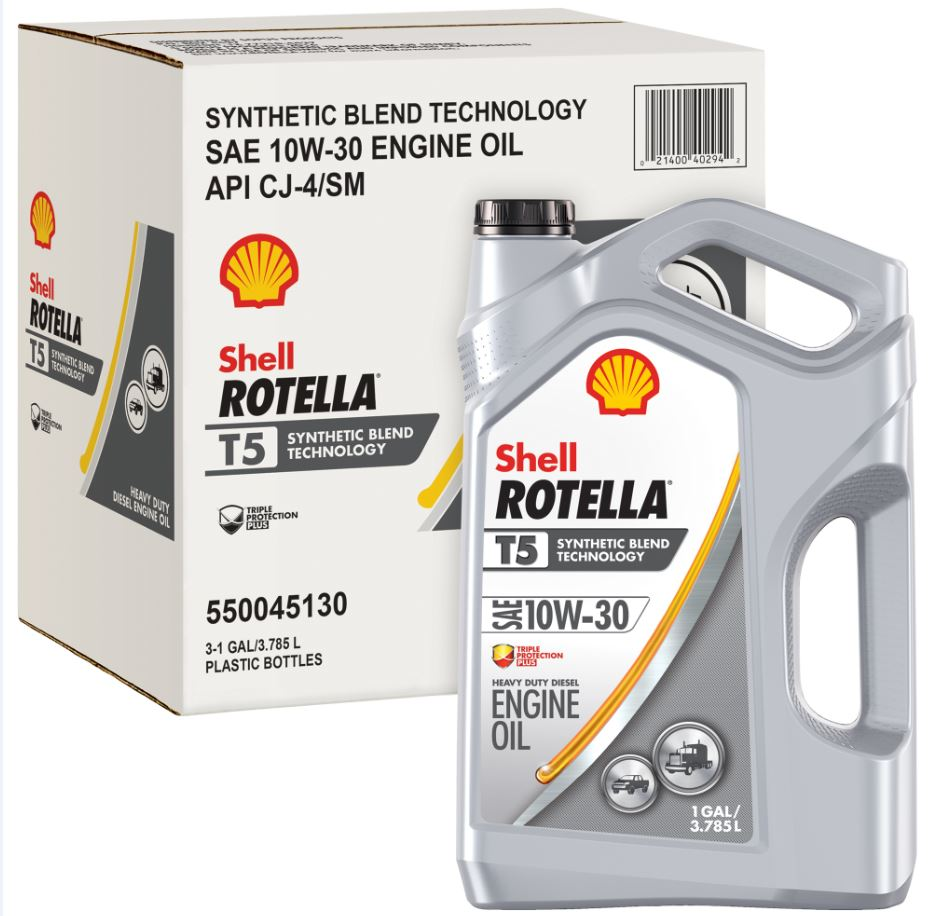 Shell Rotella T5 10W-30 Synthetic Blend Motor Oil, 1 gallon, 3-pack