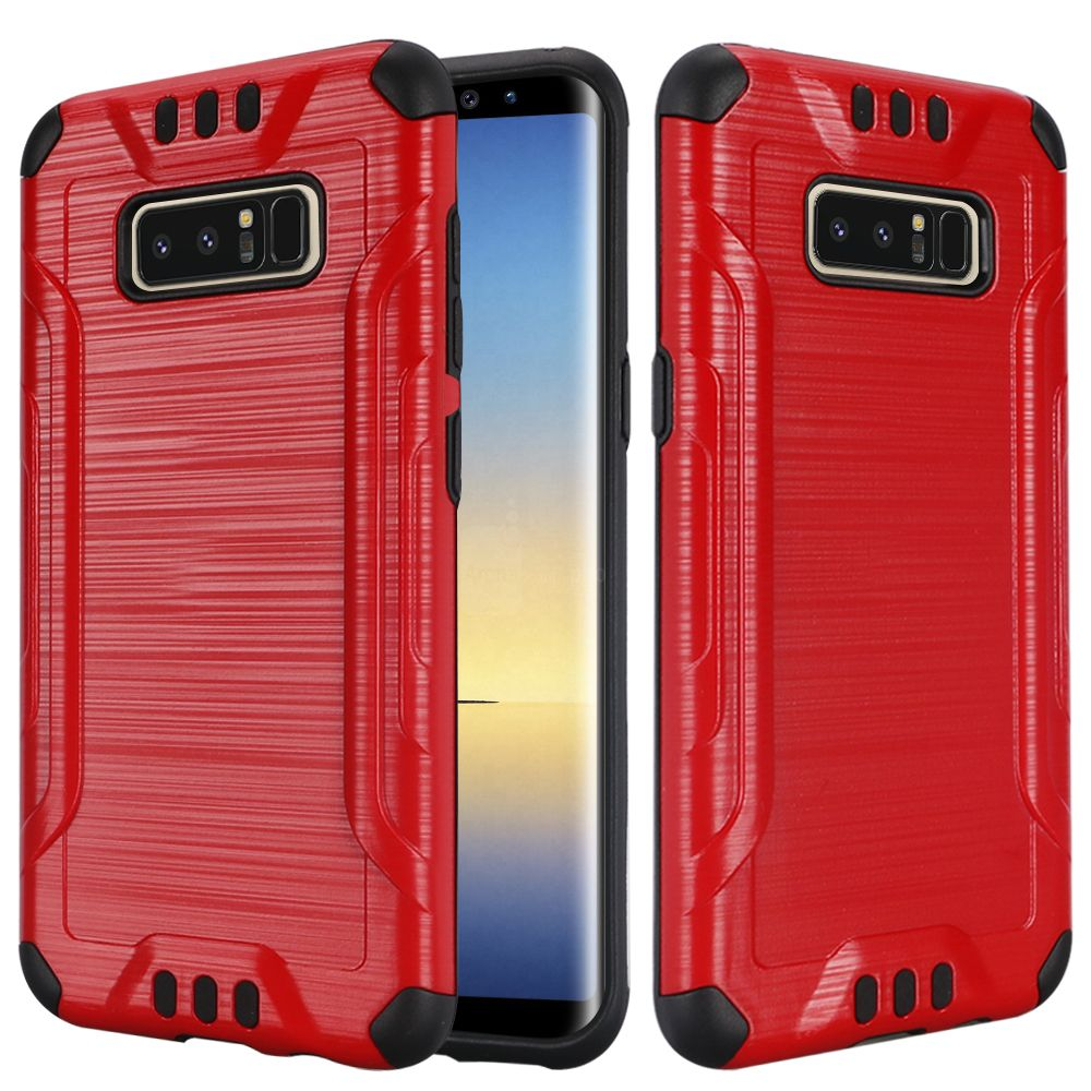 Kaleidio Case For Samsung Galaxy Note 8 [Combat Armor] Protective Brushed Metallic [Shockproof] Impact Hybrid Cover w/ Overbrawn Prying Tool [Red/Black]