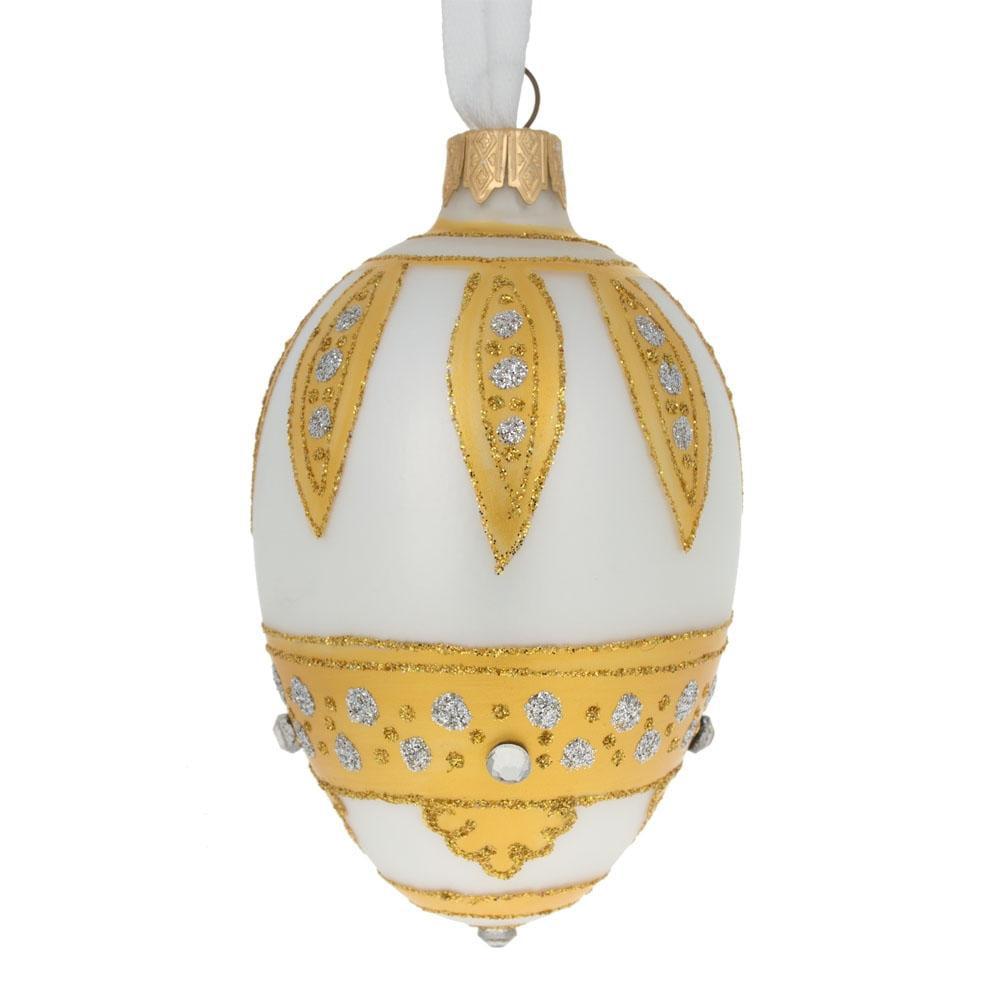 """4"""" Golden Leaves On White Egg Glass Christmas Ornament"""