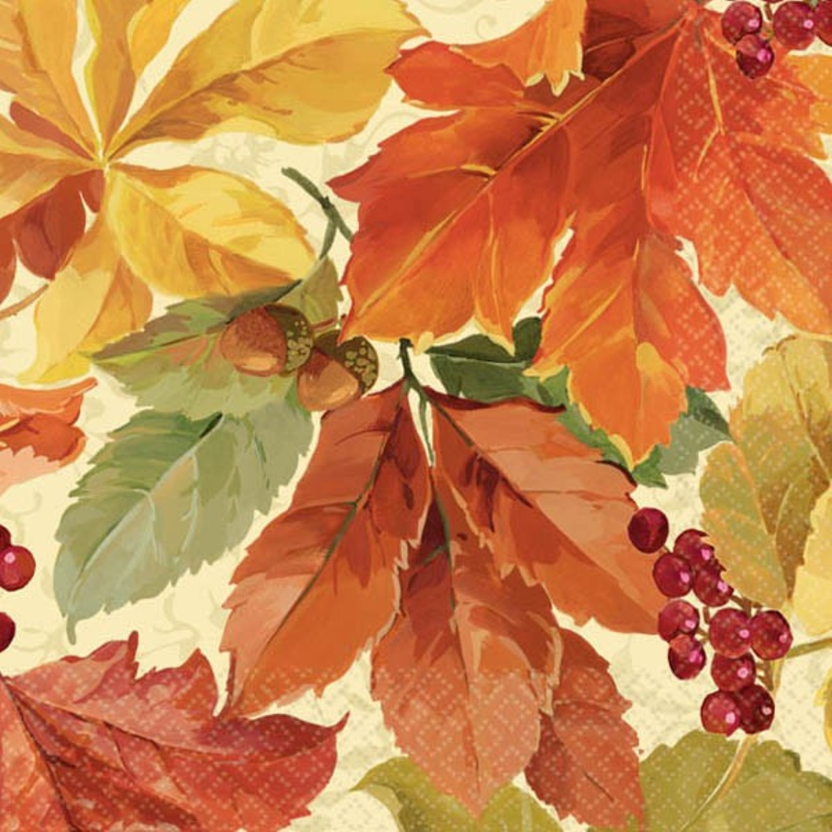 Elegant Leaves 16 Beverage Napkins Fall Thanksgiving by Amscan