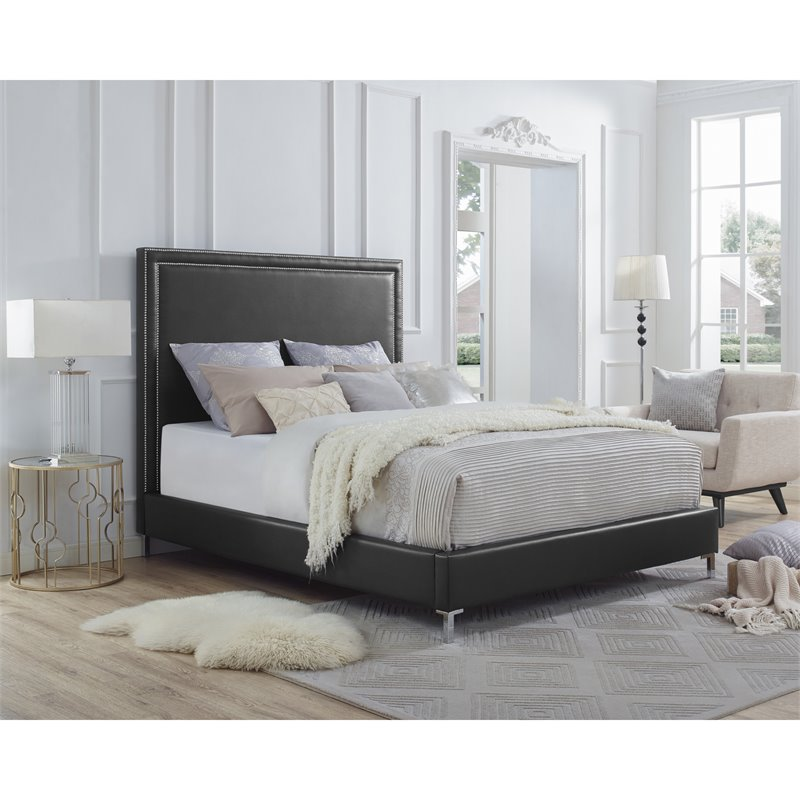 Tristan Black Leather Platform Bed Frame - Queen Size - Nailhead Trim