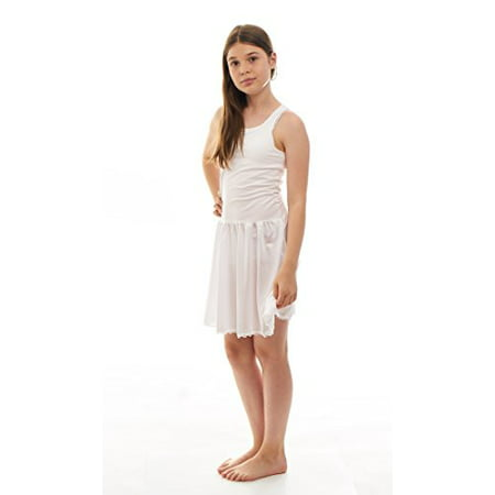 Cute Teen Girl Dresses (Sash Full Slip Sleeveless Under Dress With Built In Crop Top for Teen Girls - 95% cotton, 5% Lycra)