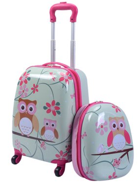 Costway 2 Piece 12'' 16'' Kids Carry-on Luggage Set Suitcase Backpack School Travel Trolley ABS