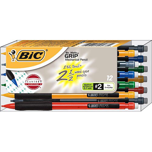BIC Matic Grip Mechanical Pencil, 0.7mm, Black, 1-Dozen
