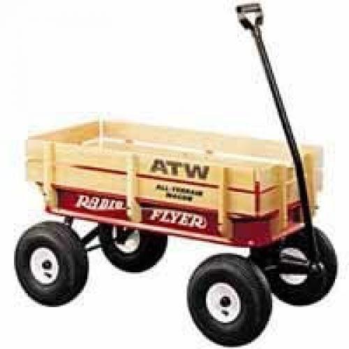 Radio Flyer 32 Steel/Wood Pneumatic Tire Wood Side All-Terrain Steel Wagon