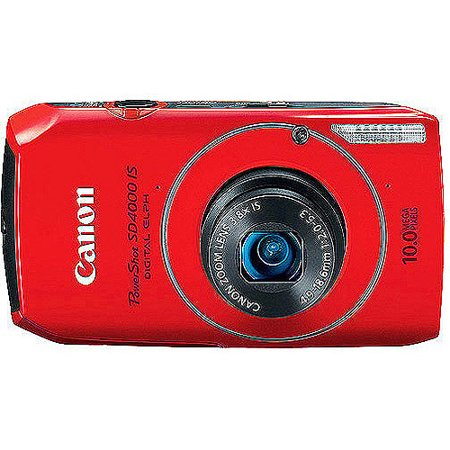"""Canon PowerShot SD4000-IS Red 10MP Digital ELPH Camera, 720P HD Video, 3.8x Optical Zoom, 3"""" Wide LCD, CMOS Sensor, HDMI Output"""