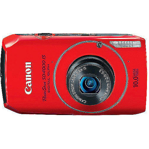 "Canon PowerShot SD4000-IS Red 10MP Digital ELPH Camera, 720P HD Video, 3.8x Optical Zoom, 3"" Wide LCD, CMOS Sensor, HDMI Output"