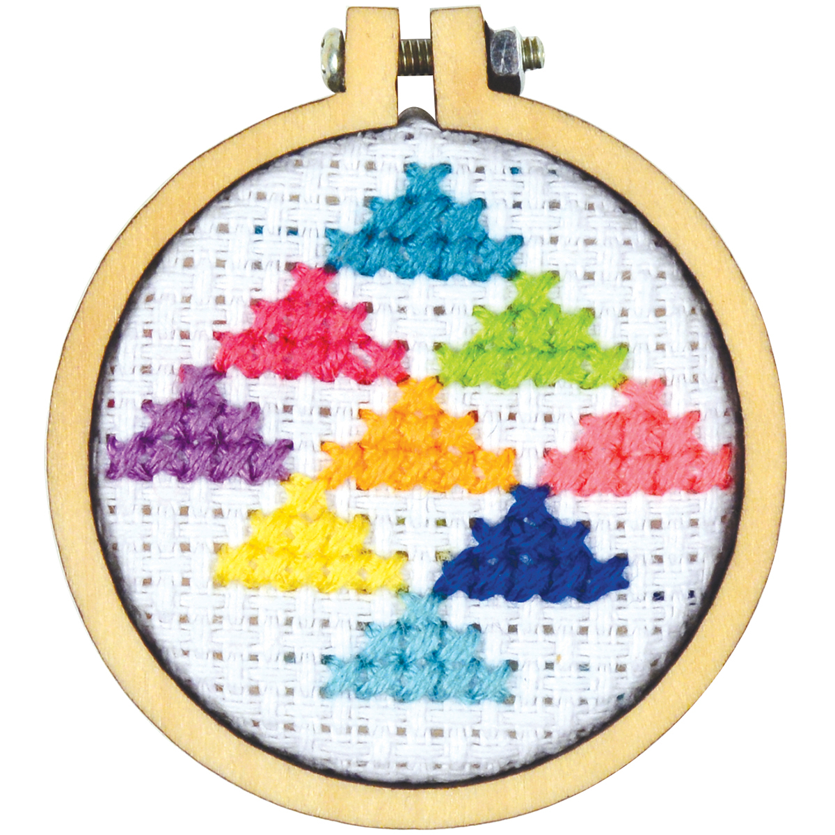 "Cross Stitch Style Mini Round Wood Hoops Punched-1.5"" Round"