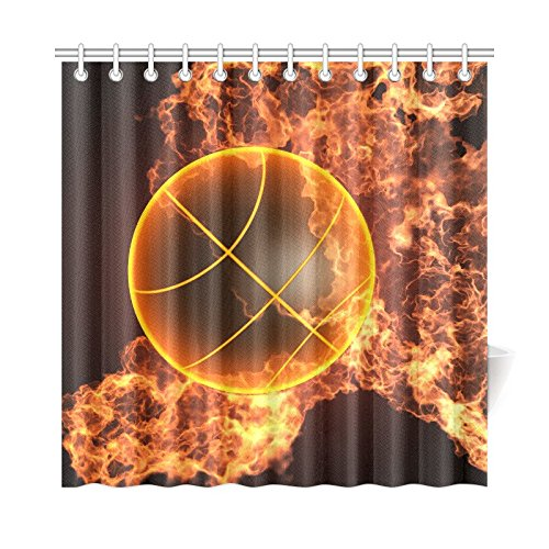 Shower Curtain Basketball Ball on Fire and Water Flame Splashing Desgin Curtains