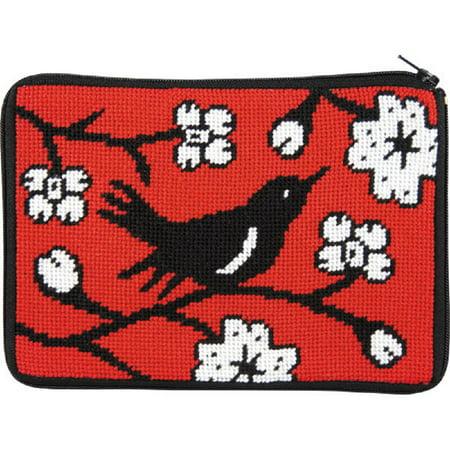 Sch Zip Needlepoint Purse Cosmetic Case Kit Sz595 Blackbird