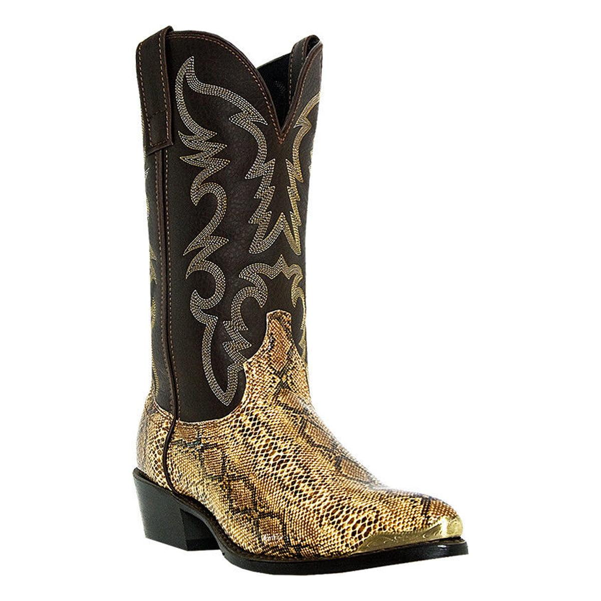 Laredo Western Boots Mens Cowboy Monty Faux Snake Golden Copper 68068 by Laredo