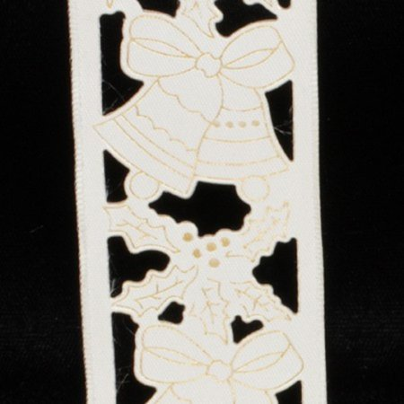 Ivory Holly - Ivory Bells and Holly Cut Out Wired Craft Ribbon 1.5