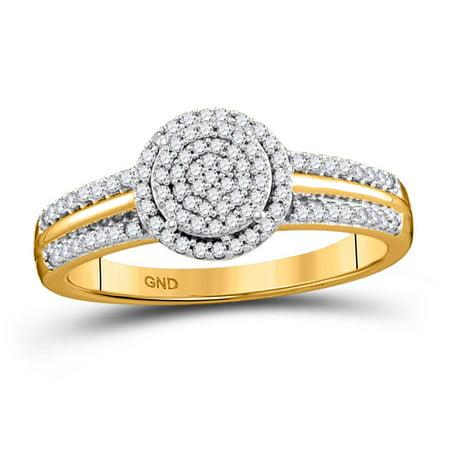 10kt Yellow Gold Round Diamond Circle Cluster Bridal Wedding Engagement Ring ()