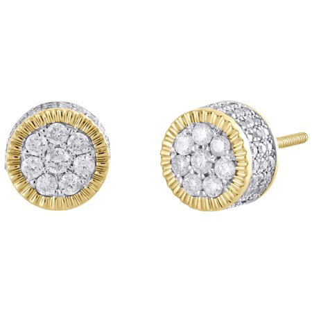 10K Yellow Gold Diamond 3D Circle Fluted Cluster Studs 8.25mm Earrings 3/4 - Fluted Circle
