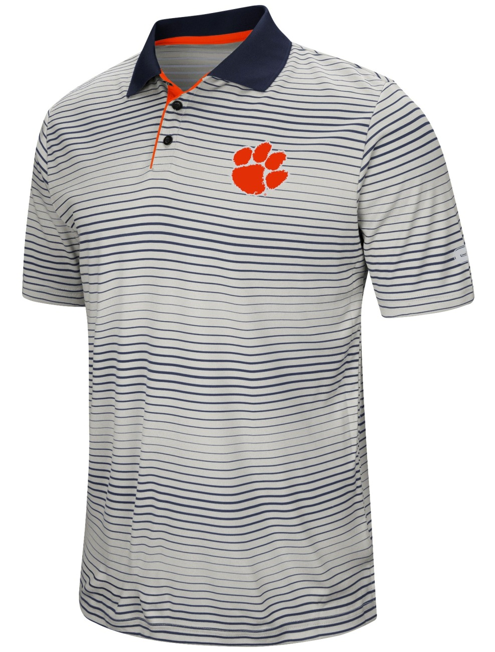 """Clemson Tigers NCAA """"Number One"""" Men's Performance Striped Polo Shirt by Colosseum"""