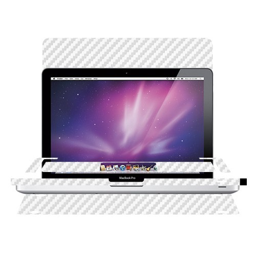 "Skinomi Carbon Fiber Silver Laptop Skin for Apple Macbook Pro 15"" 2010 2011 2012"