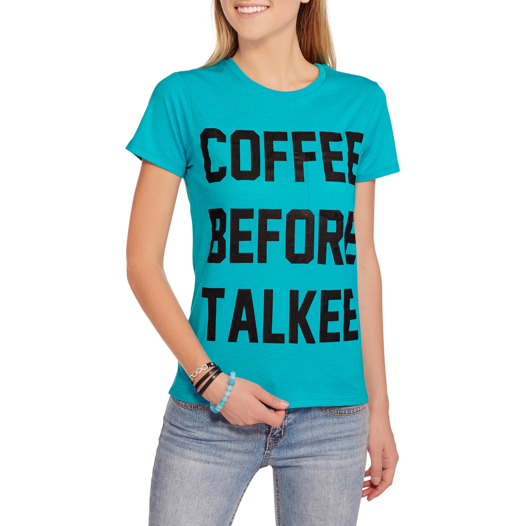 "Juniors' ""Coffee"" Graphic Over Pocket Tee"