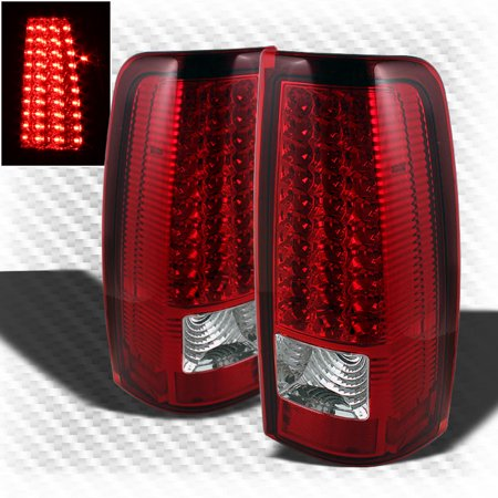 For 1999-2002 Chevy Silverado 1999-2003 GMC Sierra LED Red Clear Tail Lights Lamp  Pair Left+Right 2000 2001 ()