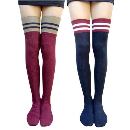 d8474b4edd0 AM Landen - AM Landen Combed Cotton Over-Knee High Stripe Socks(Blue ...