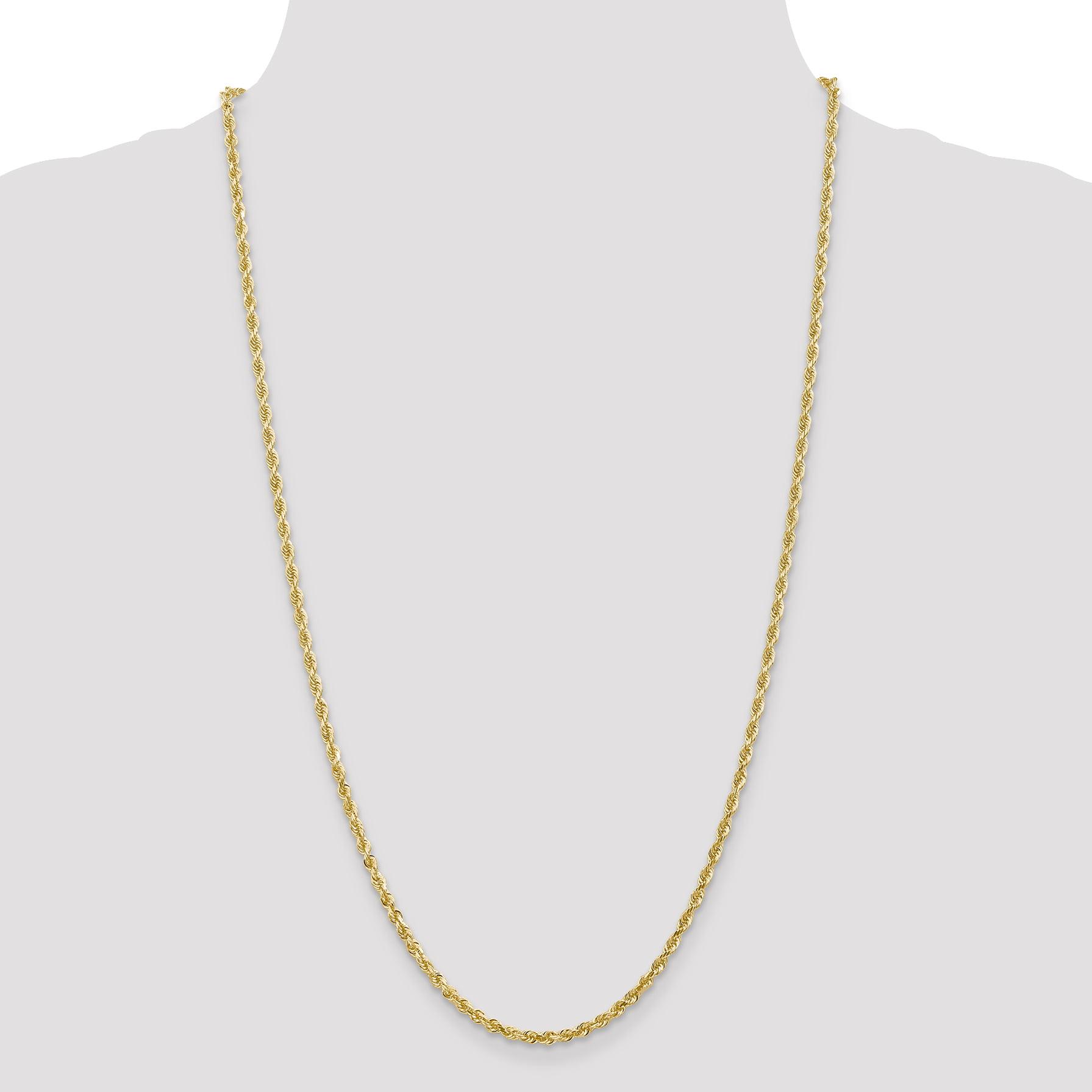 14K Yellow Gold 3.0mm Diamond Cut Quadruple Rope Chain 24 Inch - image 4 of 5