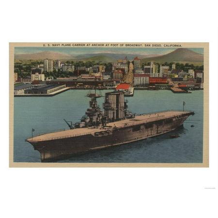San Diego, CA - View U.S. Navy Aircraft Carrier Print Wall Art By Lantern