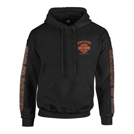 Harley-Davidson Men's Eagle Piston Long Sleeve Pullover Hoodie, Black 30299949, Harley