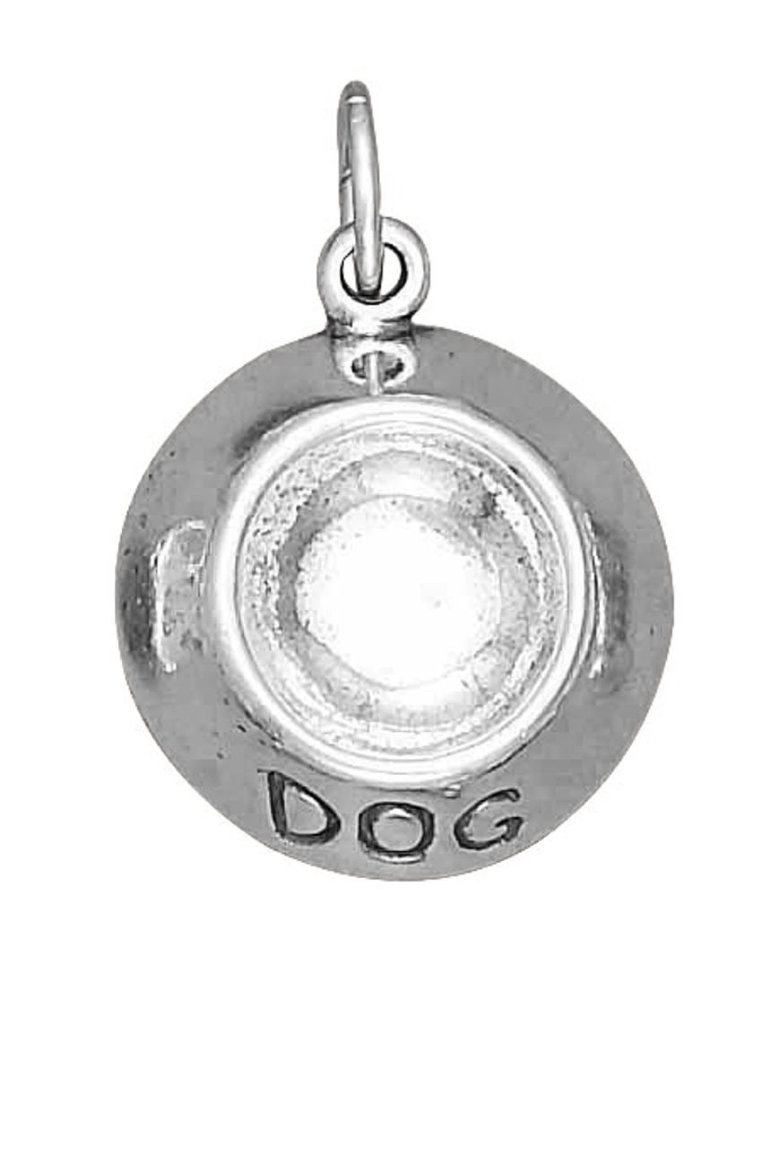 Sterling Silver 7 4.5mm Charm Bracelet With Attached 3DDOG BOWL Charm