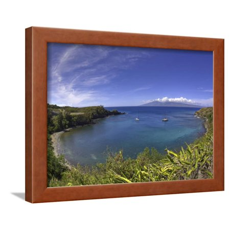 Sailboats and Snorkelers in Honolua Bay, Maui Framed Print Wall Art By David Fleetham