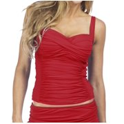 La Blanca NEW Red Women's Size 8 Tankini Top Wrap Front Ruched Swimwear